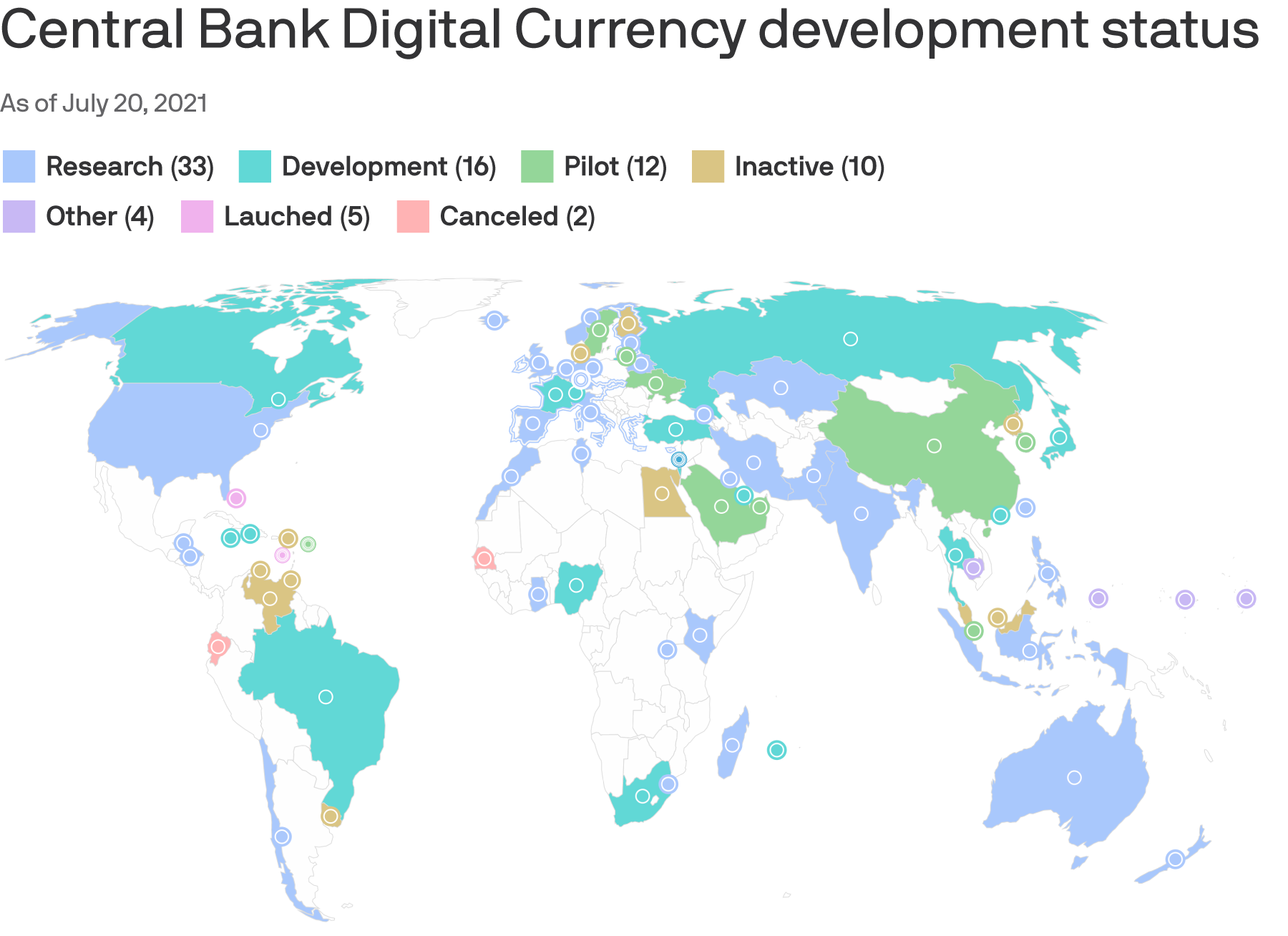 The 81 countries exploring central bank digital currencies